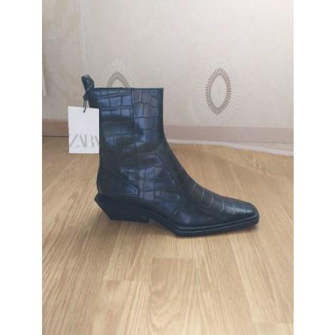 Santiags, bottines, low boots cowboy ZARA Noir