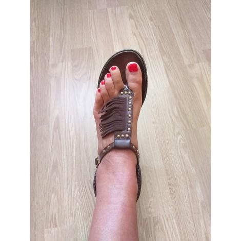Sandales plates  MARQUE INCONNUE Marron