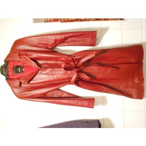 Manteau CRÉATEUR : HOUIDI CUIR Rouge, bordeaux