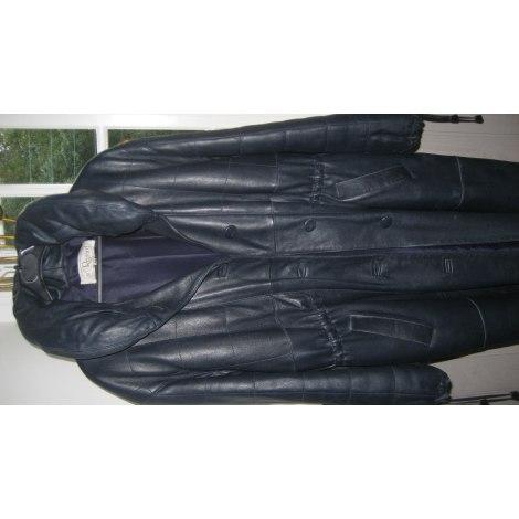 Manteau en cuir AU RENARD Bleu, bleu marine, bleu turquoise