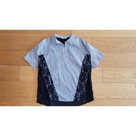 Top, tee-shirt ZARA rayures bleu ciel et dentelle noire