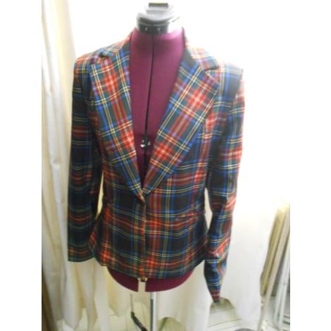 Blazer, veste tailleur COUTURIERE ; VESTE À CARREAUX ROUGE MARINE VERT SUPERBE TAILLE 38 FR Rouge, bordeaux