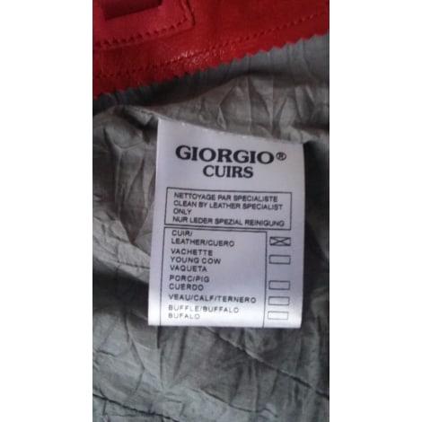 Veste en cuir GIORGIO Rouge, bordeaux