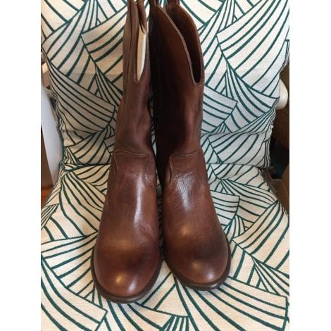 Santiags, bottines, low boots cowboy MARQUE INCONNUE Marron