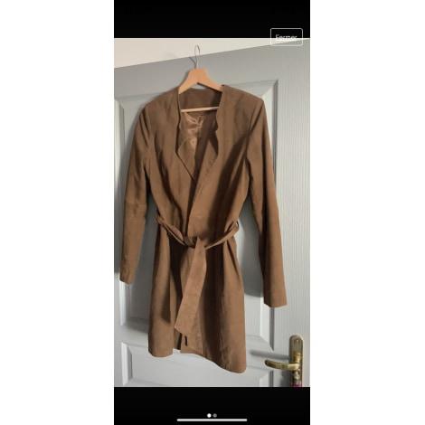Manteau en cuir LAURA CLÉMENT Beige, camel