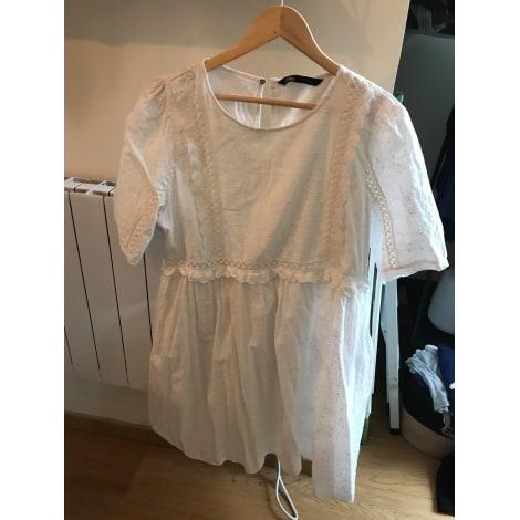 Robe mi-longue ZARA Blanc, blanc cassé, écru