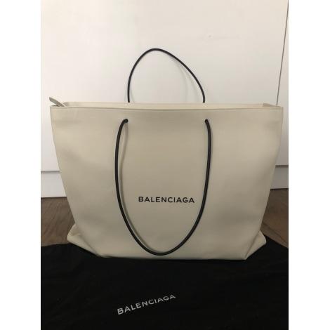 Sac XL en cuir BALENCIAGA Shopping Blanc, blanc cassé, écru