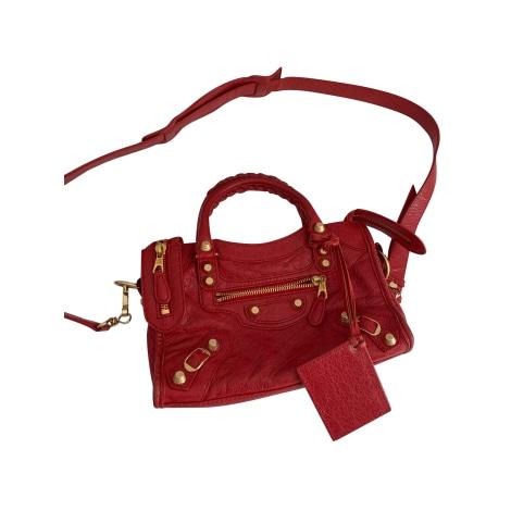 Leather Shoulder Bag BALENCIAGA Mini City Red, burgundy