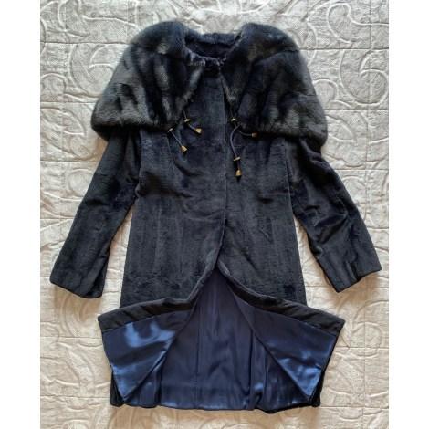 Manteau en fourrure NON SIGNÉ Bleu, bleu marine, bleu turquoise