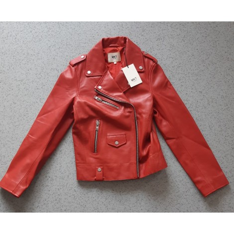 Veste en cuir MKT Rouge, bordeaux