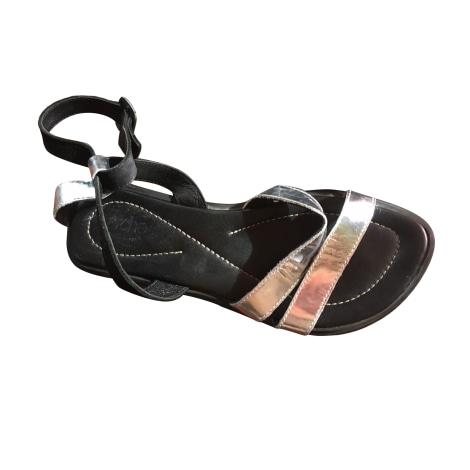 Sandales plates  ARCHE Noir et gris argenté