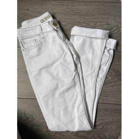 Jeans slim GUESS Blanc, blanc cassé, écru