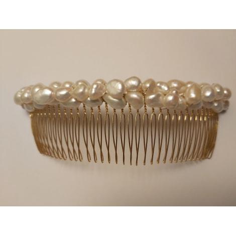 Serre-tête DOMINIQUE DUVAL (COMME ALEXANDRE DE PARIS) doré, perles blanches