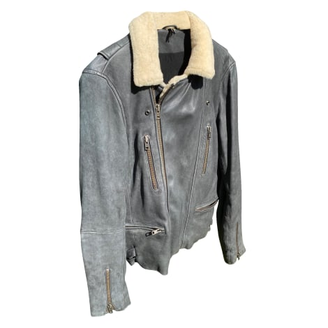 Leather Zipped Jacket IRO Gray, charcoal