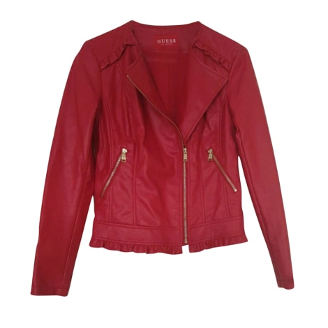 Leather Jacket GUESS Red, burgundy