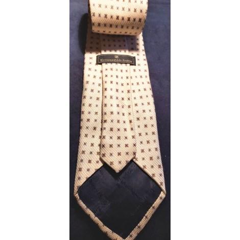 Cravate ERMENEGILDO ZEGNA Blanc, blanc cassé, écru