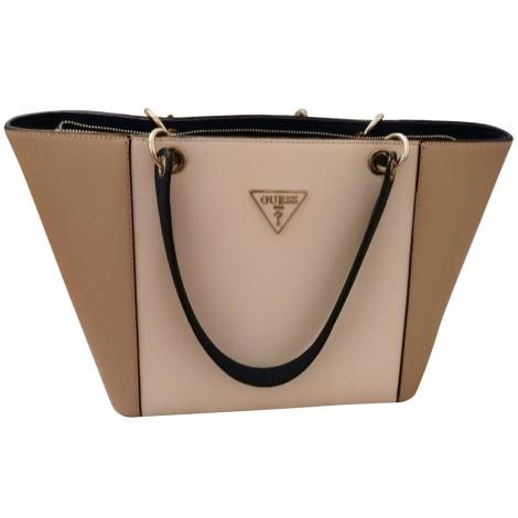 Leather Handbag GUESS blanc beige bleu