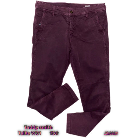 Pantalon slim, cigarette TEDDY SMITH Rouge, bordeaux