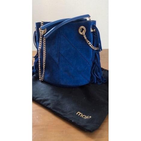 Sac en bandoulière en cuir MAJE Bleu, bleu marine, bleu turquoise