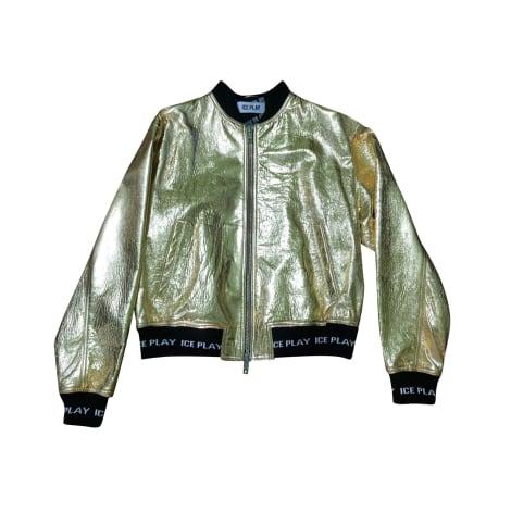 Veste en cuir ICEBERG Doré, bronze, cuivre