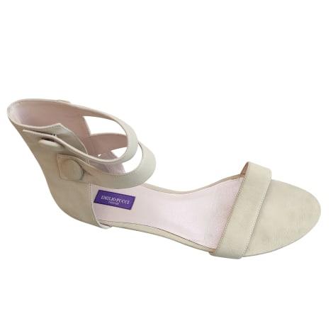 Sandales plates  EMILIO PUCCI Blanc, blanc cassé, écru