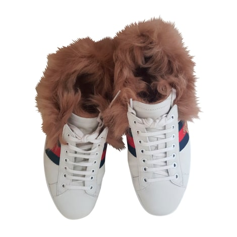 Sneakers GUCCI Ace Weiß, elfenbeinfarben