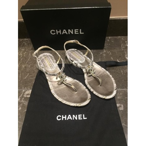 Tongs CHANEL Gris, anthracite