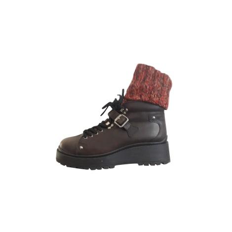 Bottines & low boots à compensés MIU MIU Marron