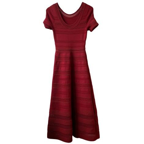 Robe longue SANDRO Rouge, bordeaux