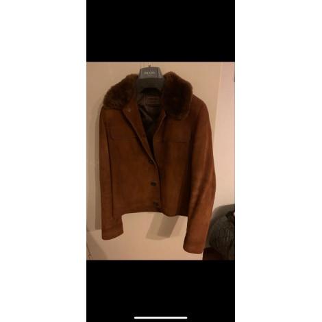 Manteau en cuir PRADA Beige, camel