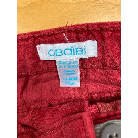 Pantalon OBAIBI Rouge, bordeaux