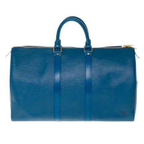 Sac XL en cuir LOUIS VUITTON Keepall Bleu, bleu marine, bleu turquoise