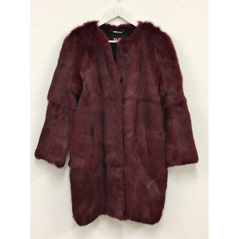 Manteau en fourrure DOLCE & GABBANA Rouge, bordeaux