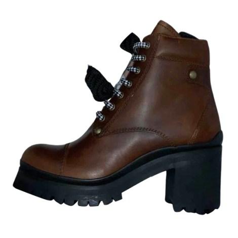 Bottines & low boots motards MIU MIU Marron