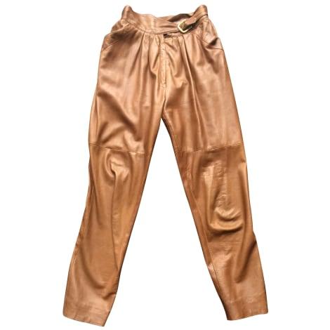 Pantalon droit THIERRY MUGLER Beige, camel