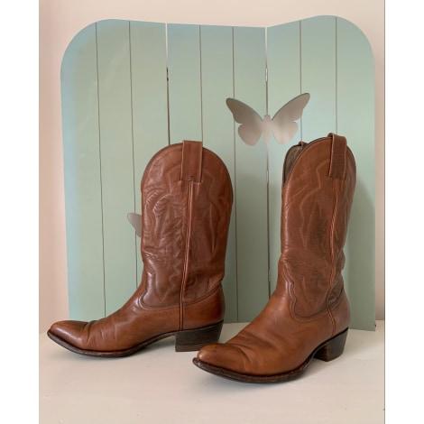 Santiags, bottines, low boots cowboy MONTANA Marron