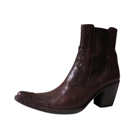 Santiags, bottines, low boots cowboy FREE LANCE Marron