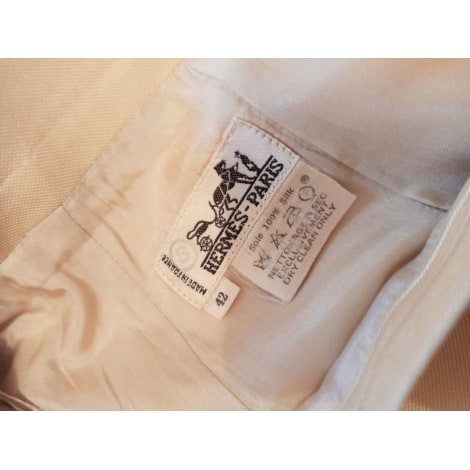 Jupe courte HERMÈS Blanc, blanc cassé, écru