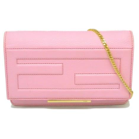 Schultertasche Leder FENDI Pink,  altrosa