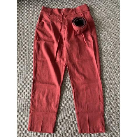 Pantalon droit ZARA Rouge, bordeaux