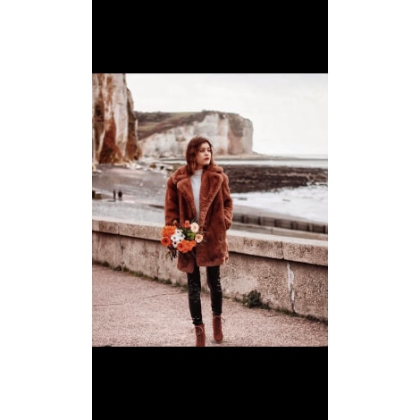 Manteau en fourrure MANGO Marron
