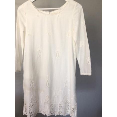 Robe courte BA&SH Blanc, blanc cassé, écru