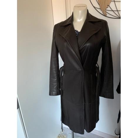Manteau en cuir ZARA Marron