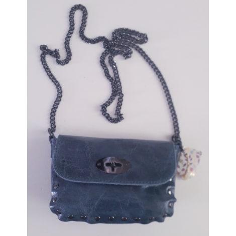 Sac en bandoulière en cuir GENUINE LEATHER marbré bleu/gris jeans