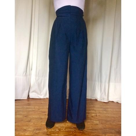 Pantalon large HERMÈS Bleu, bleu marine, bleu turquoise