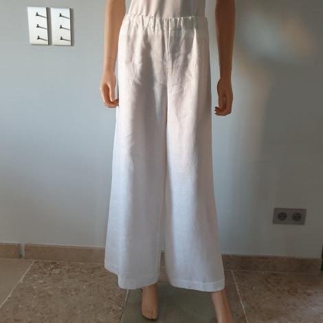 Pantalon large SARAH PACINI Blanc, blanc cassé, écru