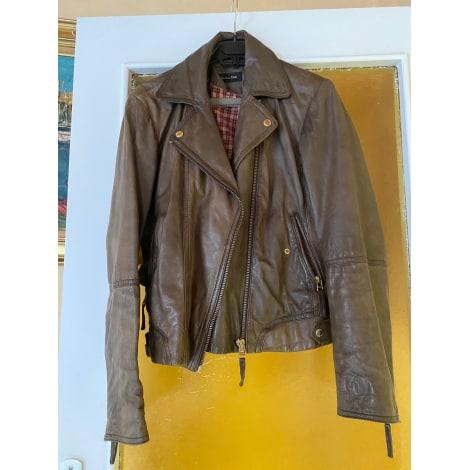 Veste en cuir MASSIMO DUTTI Doré, bronze, cuivre