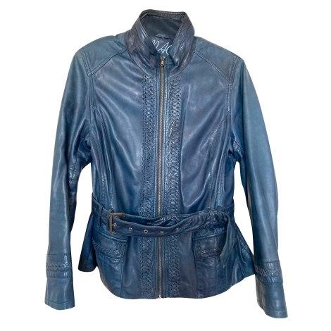 Veste en cuir MAC DOUGLAS Bleu, bleu marine, bleu turquoise