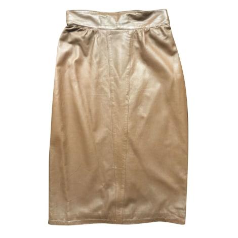Jupe mi-longue THIERRY MUGLER Doré, bronze, cuivre