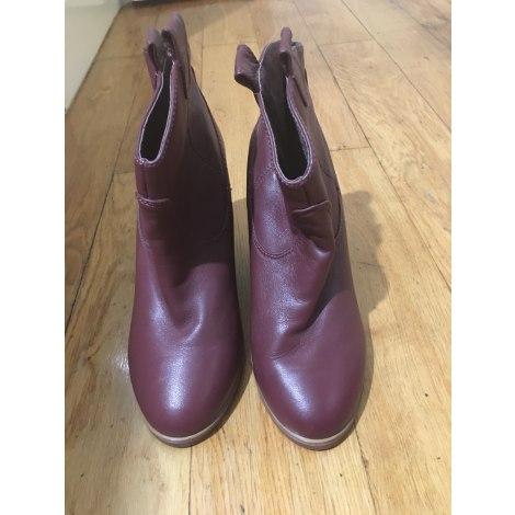 Bottines & low boots à compensés NAF NAF Rouge, bordeaux